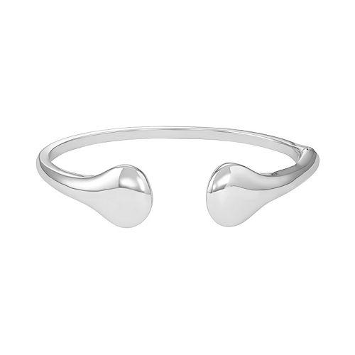 Sterling Silver Teardrop Hinged Cuff Bracelet