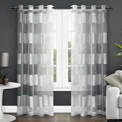 Exclusive Home 2-pack Navaro Striped Sheer Window Curtains - 54'' x 84''