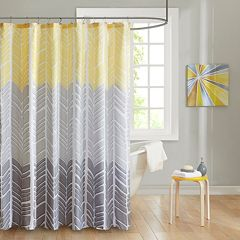 Intelligent Design Kennedy Microfiber Printed Shower Curtain Yellow Aqua