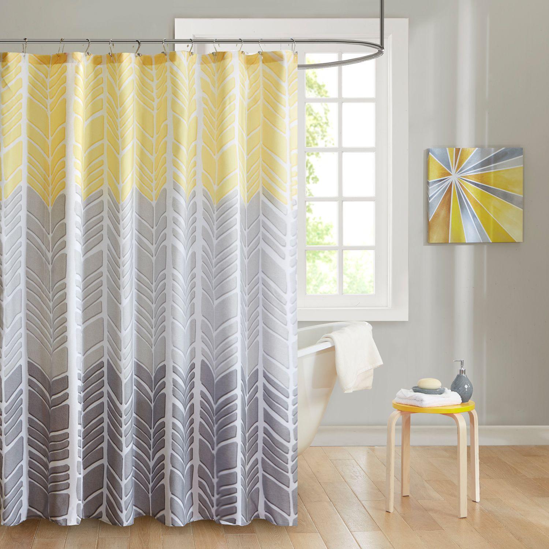 Charmant Intelligent Design Kennedy Microfiber Printed Shower Curtain. Yellow Aqua