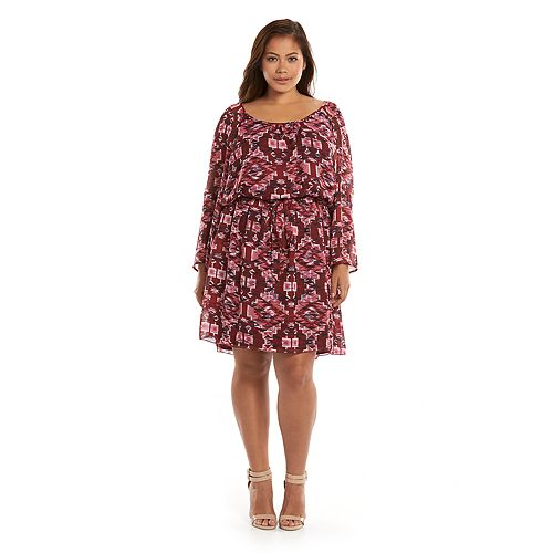 Juniors\' Plus Size Speechless Printed Peasant Dress with Belt