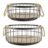 Stonebriar Collection Wire & Wood Coastal Basket 2-piece Set