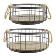 Stonebriar Collection Wire & Wood Coastal Basket 2 pc Set