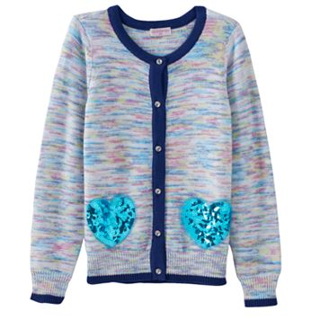 Girls 4-6x Design 365 Marled Sparkly Heart Cardigan