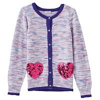 Girls 4-6x Design 365 Purple Marled Sparkly Heart Cardigan