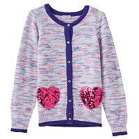 Girls 4-6x Design 365 Purple Marled Sparkly Heart Cardigan