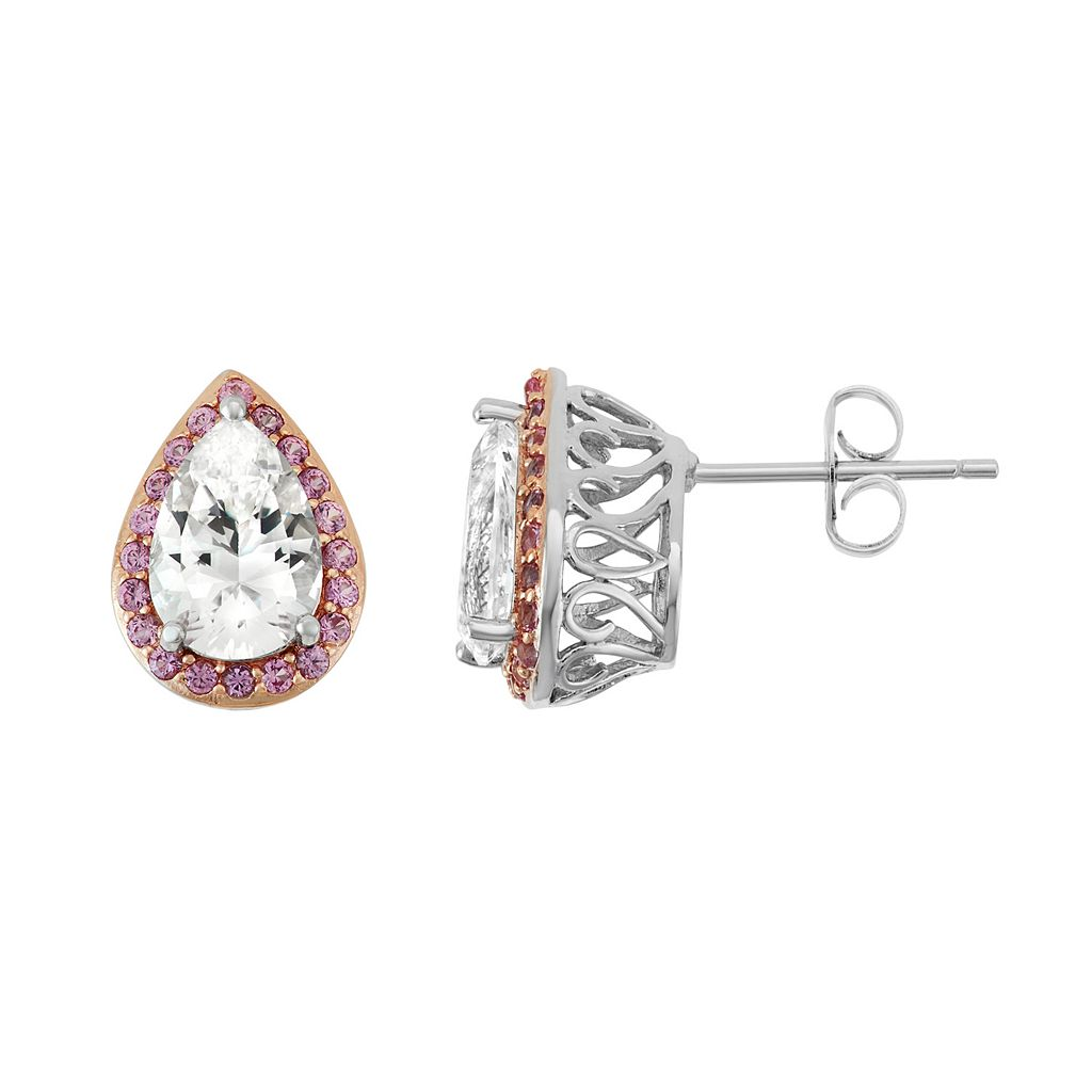 100 Facets of Love Sterling Silver Lab-Created White & Pink Sapphire Teardrop Stud Earrings