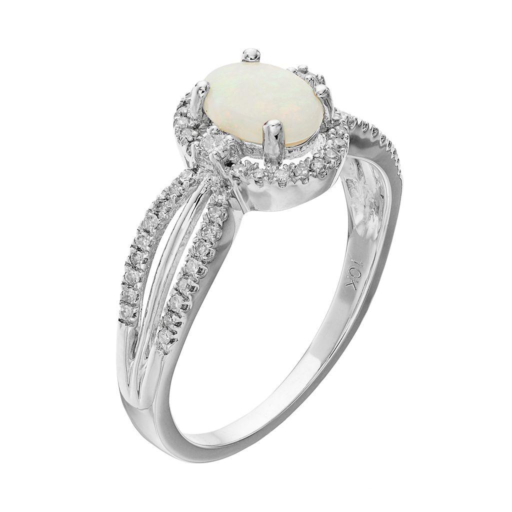 10k White Gold White Opal & 1/5 Carat T.W. Diamond Halo Ring