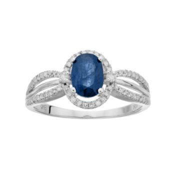 10k White Gold Sapphire & 1/5 Carat T.W. Diamond Halo Ring
