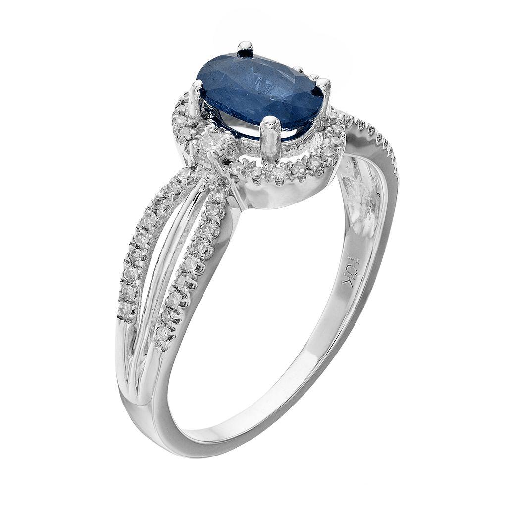 10k White Gold Sapphire & 1/5 Carat T.W. Diamond Halo Ring