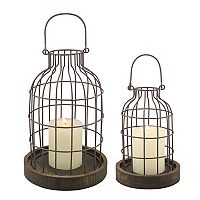 Stonebriar Collection Distressed Cloche Candle Holder 2 pc Set