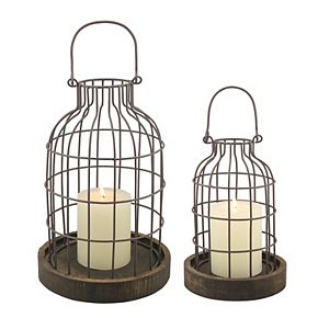 Stonebriar Collection Distressed Cloche Candle Holder 2-piece Set