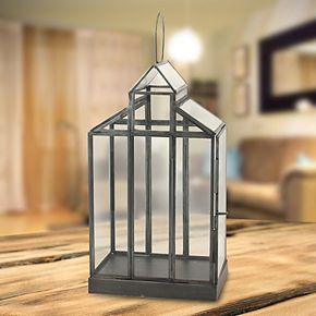 Stonebriar Collection Glass Barn Candle Lantern