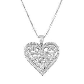 Simply Vera Vera Wang Sterling Silver 1/4 Carat T.W. Diamond Heart Pendant