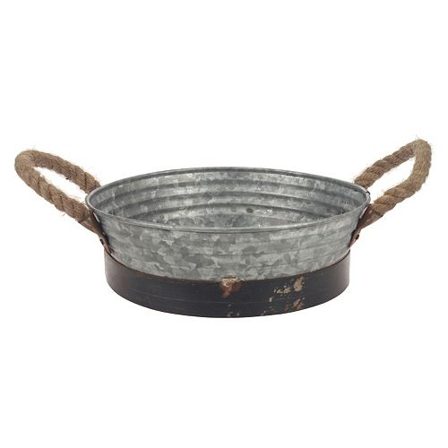 Stonebriar Collection Aged Galvanized Metal Tray