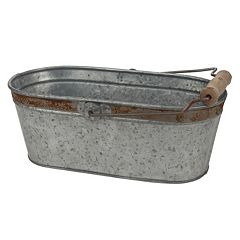 Stonebriar Collection Aged Galvanized Metal Oval Bucket