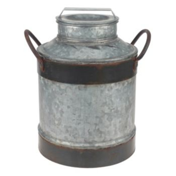 Stonebriar Collection Large Aged Galvanized Metal Milk Can Decor