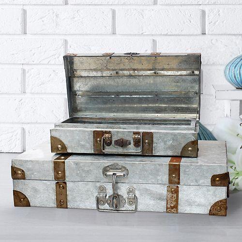 Stonebriar Collection Aged Galvanized Metal Suitcase Decor 2-piece Set