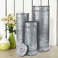Stonebriar Collection Aged Galvanized Metal Canisters 3-piece Set
