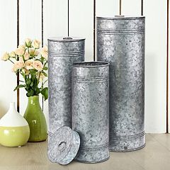 Stonebriar Collection Aged Galvanized Metal Canisters 3 pc Set