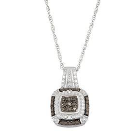 Sterling Silver 1/10 Carat T.W. Black & White Diamond Square Halo Pendant Necklace