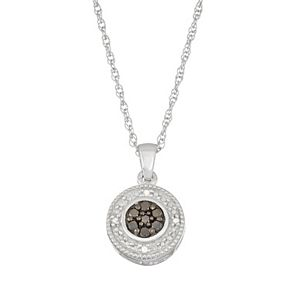 Sterling Silver 1/10 Carat T.W. Black & White Diamond Halo Pendant Necklace