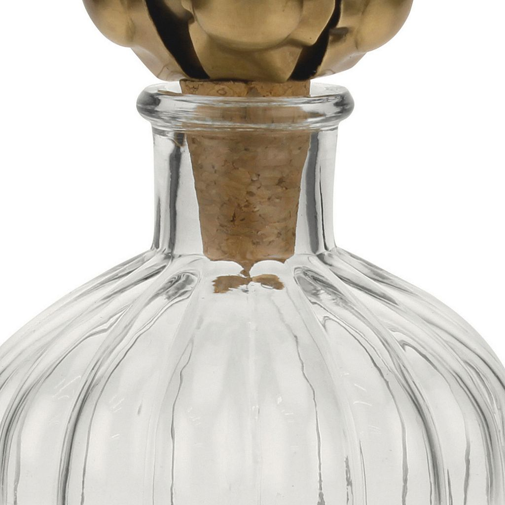 Stonebriar Collection Glass Bottle & Floral Stopper Table Decor
