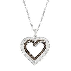 Sterling Silver Black & White Diamond Accent Heart Pendant Necklace