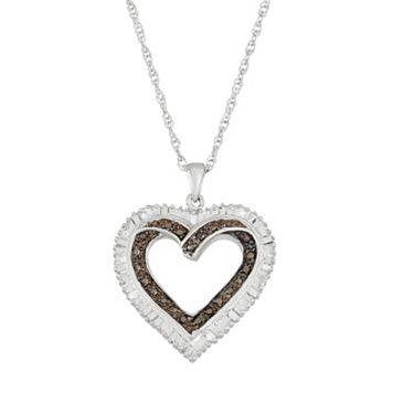 Sterling Silver Black & White Diamond Accent Heart Pendant Necklace