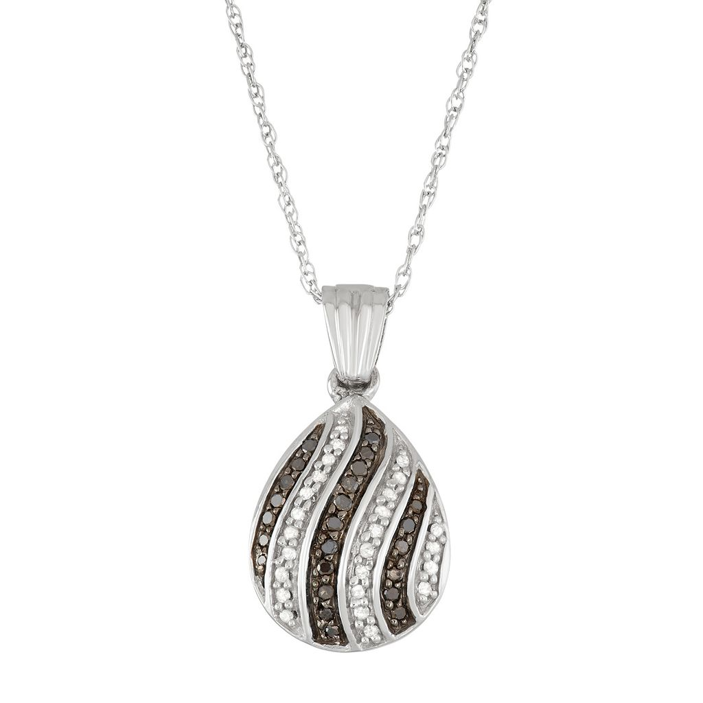 Sterling Silver 1/5 Carat T.W. Black & White Diamond Teardrop Pendant Necklace