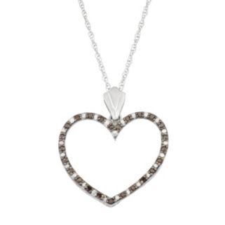 Sterling Silver 1/3 Carat T.W. Black & White Diamond Heart Pendant Necklace