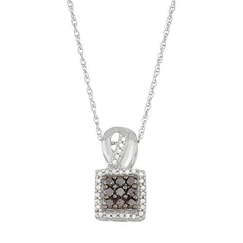 Sterling Silver 1/2 Carat T.W. Black & White Diamond Square Halo Pendant Necklace