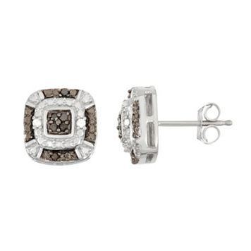 Sterling Silver 1/10 Carat T.W. Black & White Diamond Square Halo Stud Earrings