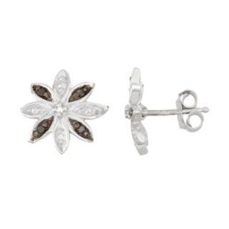 Sterling Silver Black & White Diamond Accent Flower Stud Earrings
