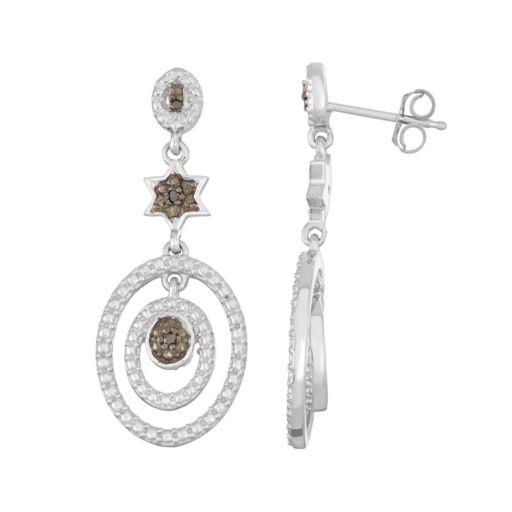 Sterling Silver Black Diamond Accent Star & Oval Drop Earrings