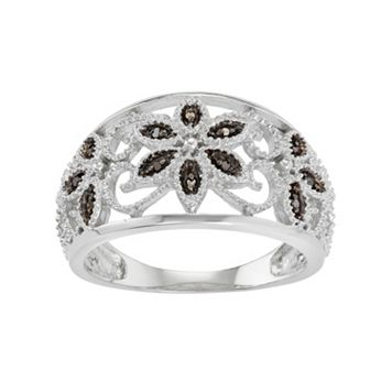 Sterling Silver Black Diamond Accent Flower Ring