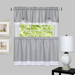 Achim 3-piece Darcy Tier & Valance Kitchen Window Curtain Set