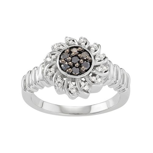 Sterling Silver 1/4 Carat T.W. Black & White Diamond Flower Ring