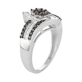 Sterling Silver 1/2 Carat T.W. Black & White Diamond Marquise Ring