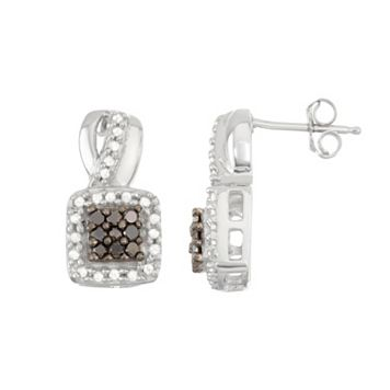 Sterling Silver 1/2 Carat T.W. Black & White Diamond Square Halo Stud Earrings