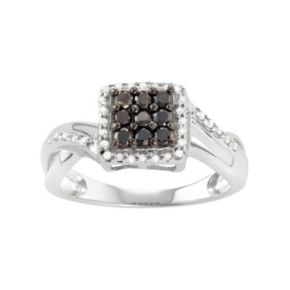 Sterling Silver 1/2 Carat T.W. Black & White Diamond Square Halo Ring