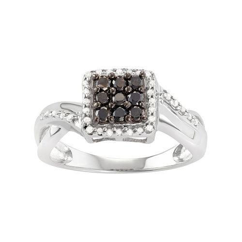 Sterling Silver 1/2 Carat T.W. Black & White Diamond Square Halo Ring