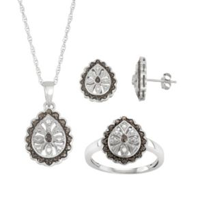 Sterling Silver 1/10 Carat T.W. Black & White Diamond Flower Teardrop Jewelry Set