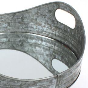 Stonebriar Collection Galvanized Metal Tray & Wall Mirror 2-piece Set