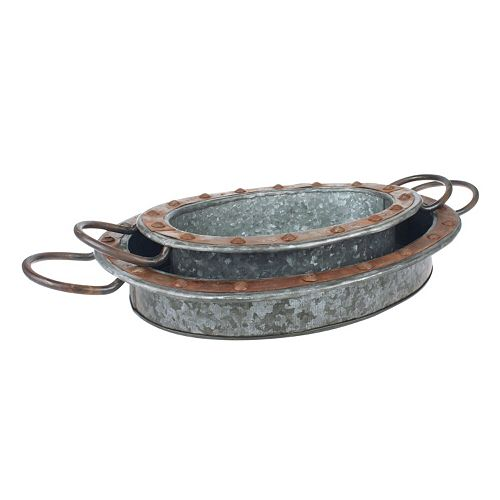 Stonebriar Collection Industrial Galvanized Steel Tray 2-piece Set