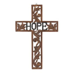 """Stonebriar Collection Wood """"Hope"""" Cross Wall Decor"""