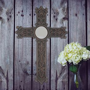 Stonebriar Collection Mirror Wood Cross Wall Decor
