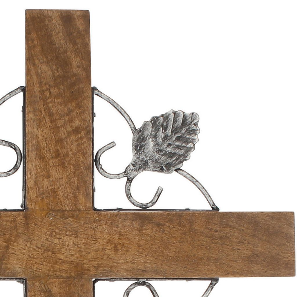 Stonebriar Collection Natural Wood & Metal Cross Wall Decor