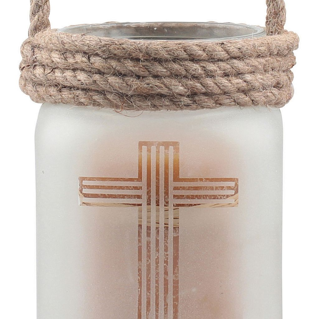 Stonebriar Collection Medium Frosted Glass Cross Pillar Candle Holder