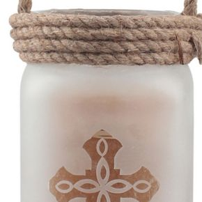 Stonebriar Collection Large Frosted Glass Cross Pillar Candle Holder